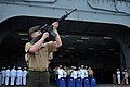 US Navy 111207-N-KD852-131 Members of the rifle detail from the 11th Marine Expeditionary Unit (11th MEU) fire a rifle volley aboard the amphibious.jpg