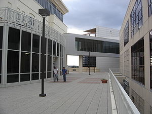 View of the breezeway between the Biotechnology, Sciences and Engineering building and the Engineering building