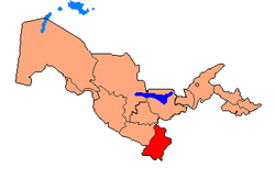 Map of Uzbekistan, location of Surxondaryo Region highlighted