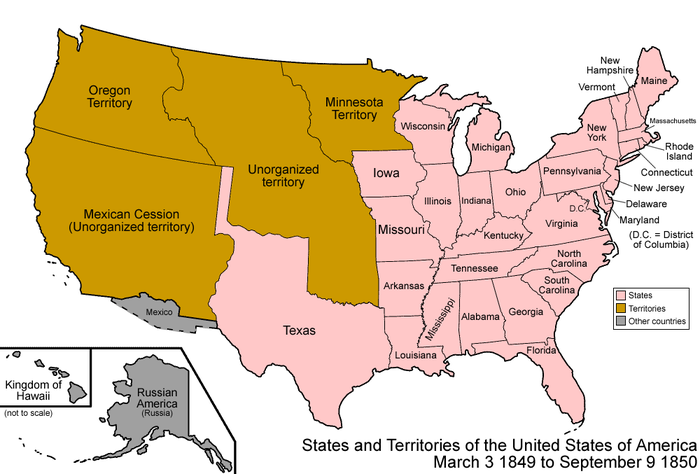 United States states and territories, both organized and unorganized, prior to the Compromise of 1850 United States 1849-1850.png