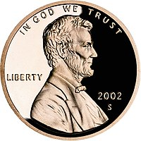 Proof-quality Lincoln cent with cameo effect, obverse.
