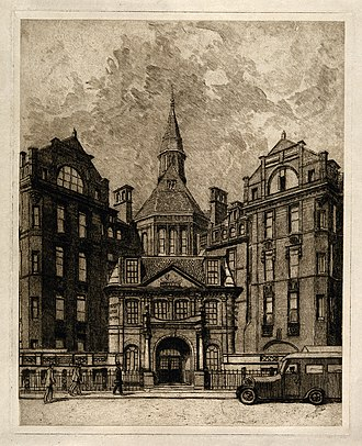 University College Hospital - Paul Waterhouse's etching of the Cruciform Building on Gower Street