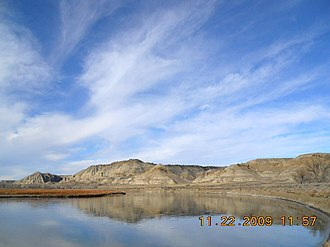Cow Creek (Montana) - View of the Cow Island Landing (upstream location) where freight was dropped off by steamboats
