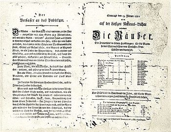 Theater bill for the premiere of The Robbers by Friedrich Schiller on January 13, 1782