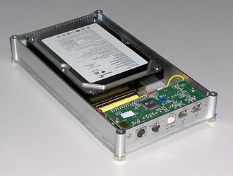 Disk enclosure - A 3.5-inch USB/FireWire hard disk enclosure with cover removed