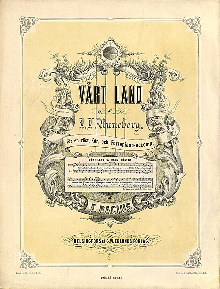 Vart land (Maamme), the national anthem of Finland, from 1863 Vart land - front page.jpg