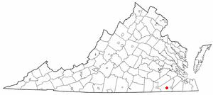 Newsoms, Virginia - Image: VA Map doton Newsoms
