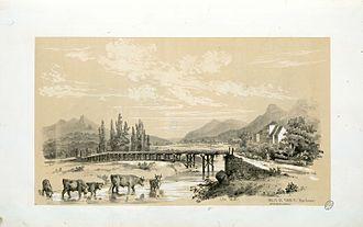 Tardets-Sorholus - Tardets Valey in 1843 by Eugène de Malbos.