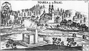 Maria Saal - Maria Saal with Duke's Chair, engraving by Johann Weikhard von Valvasor, 1680