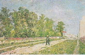Outskirts of Paris (Van Gogh) - Image: Van Gogh Straße am Stadtrand von Paris mit Männlicher Figur mit Spaten