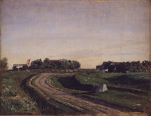 Vejby, Gribskov Municipality - Vejby in 1843 painted by P. C. Skovgaard