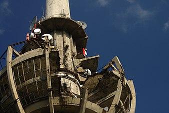 Venac, vysílač, bombardovaná strana - detail