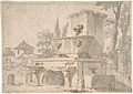 Venetian Capriccio- Landscape with a Farm Building, Sarcophagus, and Fountain (recto); Monument (verso) MET DP807982.jpg