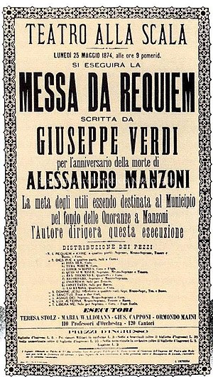 Requiem (Verdi) - Requiem poster for La Scala premiere, 1874