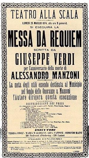 Requiem (Verdi) - Requiem poster for La Scala premiere, 1874