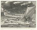 Verdrinkingsdood van prins Johan Willem Friso, 1711 Het verdrenken van Johan Willem Friso, Prins van Oranje en Nassau &c. in t'overvaaren vande Moerdyk den 14e July, 1711 (titel op object), RP-P-OB-83.330.jpg