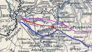 Gabii - Ancient Latium. Gabii is directly east of Roma, south of Collatia.