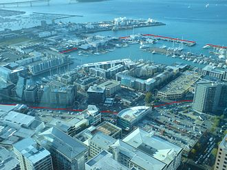 Viaduct Harbour - The quarter seen from the Sky Tower, with approximate boundaries shown marked in red