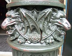 "Detail on a 19th-century London lamppost in the Museum's ""Victorian Walk"" section"