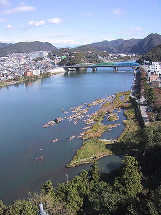 Kiso Three Rivers - View from Inuyama Castle out over the Kiso River