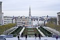 View from Mont des Arts, Mont des Arts, at the equestrian statue of King Albert I and Town Hall Tower, Brussels, Belgium, Western Europe. 3 December, 2015.jpg