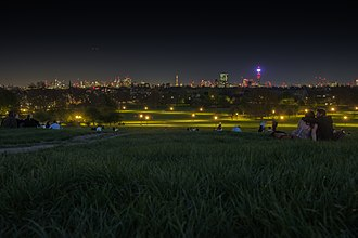 Primrose Hill - View of London Skyline by night from the summit of Primrose Hill.