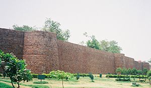 Salimgarh Fort - An impressive view from the main road of Salimgarh Fort with circular bastions