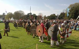 Battle of Clontarf - Viking re-enactors from all over the world at the Battle of Clontarf millennium commemoration in Saint Anne's Park, Dublin (lining up before charging at the opposition). April 19th, 2014.
