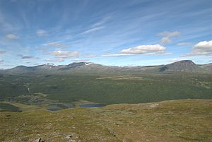 Vindelfjällen Nature Reserve - The softer landscape of the Ammarfjället mountain range with the Tjulträsk valley in the foreground.
