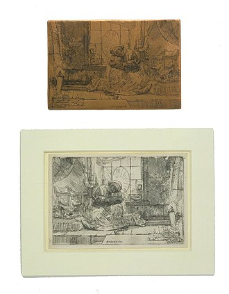 Etching - Rembrandt, The Virgin and Child with a Cat, 1654. Original copper etching plate above, example of the print below, with composition reversed.