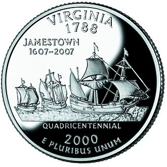 Jamestown supply missions - The original fleet, as commemorated on the Virginia State Quarter