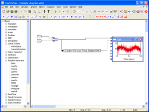 VisSim - VisSim viewer screenshot with sample model.