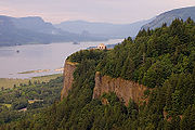 Columbia River Gorge near Crown Point, Oregon, looking upstream into the gorge, past the Vista House, from Portland Women's Forum Viewpoint (Chanticleer Point)