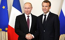 Macron con Vladimir Putin