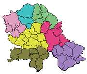Map showing districts of Vojvodina. West Bačka North Bačka South Banat Srem Central Banat South Bačka North Banat