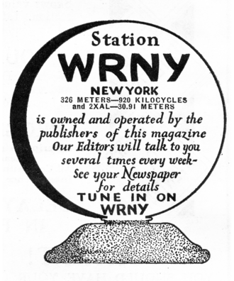 WRNY (defunct) -  A 1928 advertisement promoting magazines and radio station