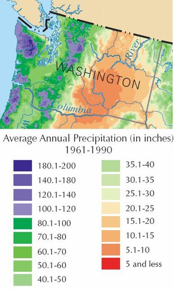 Washington experiences extensive variation in rainfall. Wa rain map.JPG