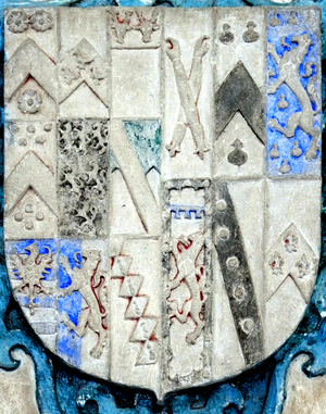 Sir Richard of Cornwall - Heraldic escutcheon from mural monument in Branscombe Church, Devon, to Joan Tregarthin (died 1583). The arms are Wadham (9 quarters), impaling Tregarthin (6 quarters). The 4th quarter of the latter is:A lion rampant in chief a label of three points a bordure engrailed bezantee