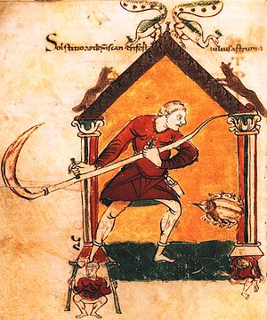 Scythe - German peasant with scythe from 850 AD