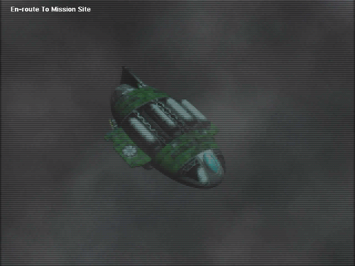 Screenshot of a pre-rendered cutscene from Warzone 2100, a free and open-source video game War Zone 2100 - Dropship cinematic.png