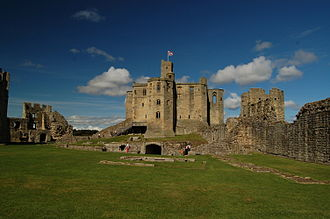 Warkworth Castle - The castle's enclosure and keep