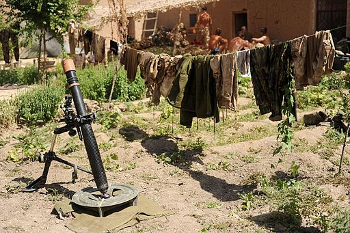 Washing Line of Uniforms in Afghanistan MOD 45150637