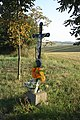 Wayside cross near crossroad near Čáslavice, Třebíč District.jpg