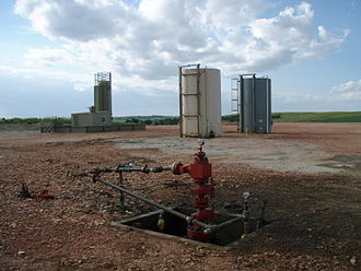 Hydraulic fracturing - Well head after all the hydraulic fracturing equipment has been taken off location