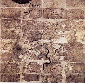 History of geography - An early Western Han Dynasty (202 BC – 9 AD) silk map found in tomb 3 of Mawangdui Han tombs site, depicting the Kingdom of Changsha and Kingdom of Nanyue in southern China (note: the south direction is oriented at the top, north at the bottom).