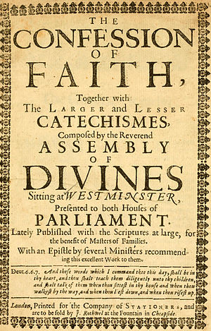 "Westminster Standards - Title page of a 1658 edition of the Standards published in England. It includes the Scripture references ""at large"" meaning they are fully written out."
