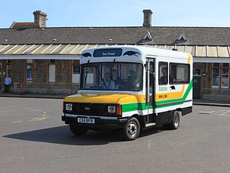Badgerline - Preserved Ford Transit minibus at Weston-super-Mare station in August 2012