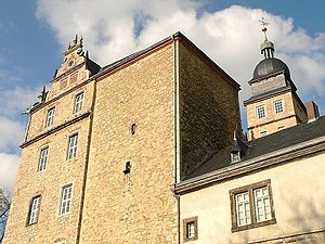 Wolfsburg Castle - West side. Left: north wing, centre:bergfried, right: west wing Altes Haus, behind: Hausmannsturm