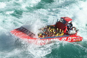Jetboat - A jetboat powers through the rapids of Niagara Gorge, near Niagara Falls.