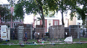 White Cube - A White Cube installation being set up in Hoxton Square in front of the gallery.